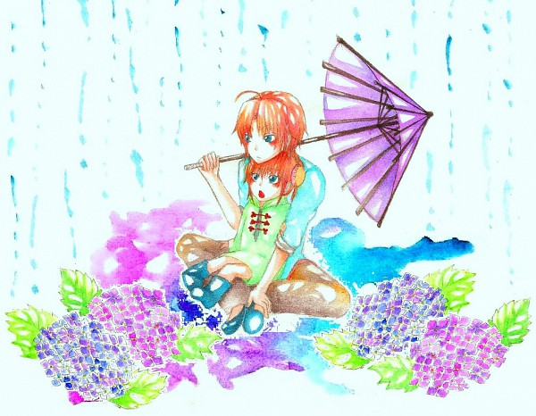 Tags: Anime, Gintama, Kamui (Gin Tama), Kagura (Gin Tama), Traditional Media, Watercolor