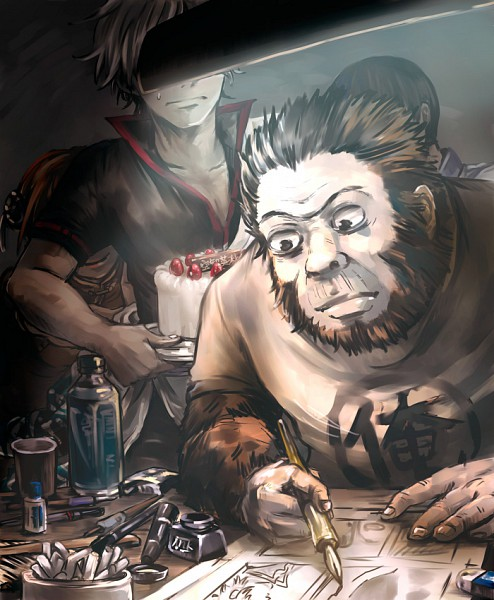 Tags: Anime, Tomomi (tmmbk), Gintama, Sorachi Hideaki (Gorilla), Shimura Shinpachi, Sakata Gintoki, Kagura (Gin Tama), Drawing (Action), Ink, Manga (Object), Gorilla, Drawing (Object), Pixiv