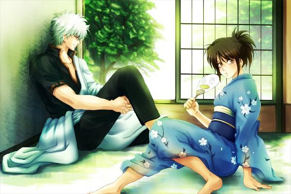 Tags: Anime, Kazuha (Pixiv 512083), Gintama, Shimura Tae, Sakata Gintoki, Ko Elizabeth Print, Fanart, Pixiv, GinTae, Silver Soul