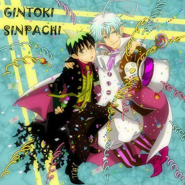 Tags: Anime, Pixiv Id 2362122, Gintama, Shimura Shinpachi, Sakata Gintoki, Amaimon (Cosplay), Mephisto Pheles (Cosplay), Pixiv, GinShin, Silver Soul