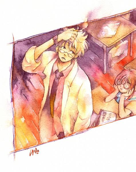 Tags: Anime, Muttiy, Gintama, Kagura (Gin Tama), Sakata Gintoki, Ginpachi-sensei, Swirly Glasses, Fanart, 3z, Pixiv, GinKagu