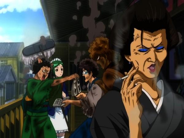 Tags: Anime, Gintama, Shimura Shinpachi, Tama (Gin Tama), Sakata Gintoki, Catherine (Gin Tama), Otose (Gin Tama), Burnt, Screenshot, Silver Soul