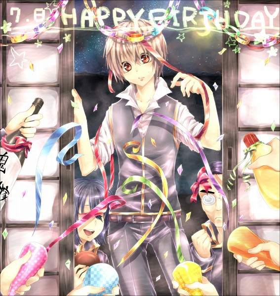Tags: Anime, Pixiv Id 149932, Gintama, Kamiyama (Gintama), Yamazaki Sagaru, Okita Sougo, Swirly Glasses, Streamers, Fanart, Fanart From Pixiv, Pixiv, Silver Soul