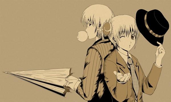 Tags: Anime, Pixiv Id 1824961, Gintama, Kagura (Gin Tama), Okita Sougo, Closed Umbrella, Anagura, Pixiv, Fanart, OkiKagu, Silver Soul