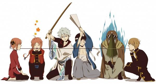 Tags: Anime, Gigatera, Gintama, Shimura Shinpachi, Okita Sougo, Umibouzu (Gin Tama), Sakata Gintoki, Kamui (Gin Tama), Kagura (Gin Tama), Closed Umbrella, Pocky Game, Fanart, Facebook Cover, Silver Soul