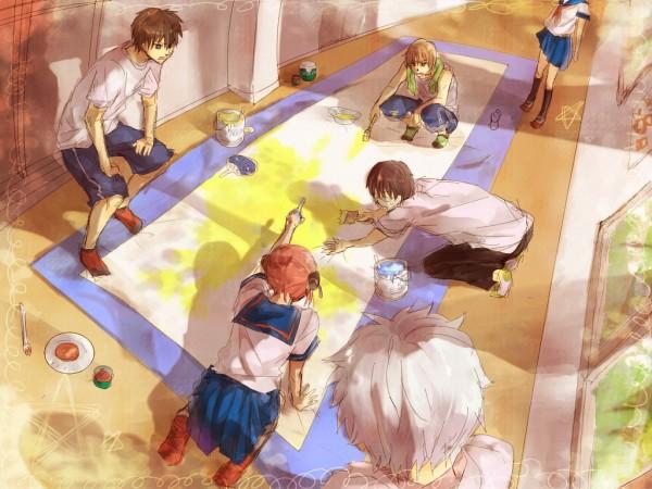 Tags: Anime, Okt78, Gintama, Sakata Gintoki, Kagura (Gin Tama), Shimura Shinpachi, Okita Sougo, Hijikata Toushirou, Ginpachi-sensei, Painting (Action), Pixiv, Wallpaper, 3z, Silver Soul