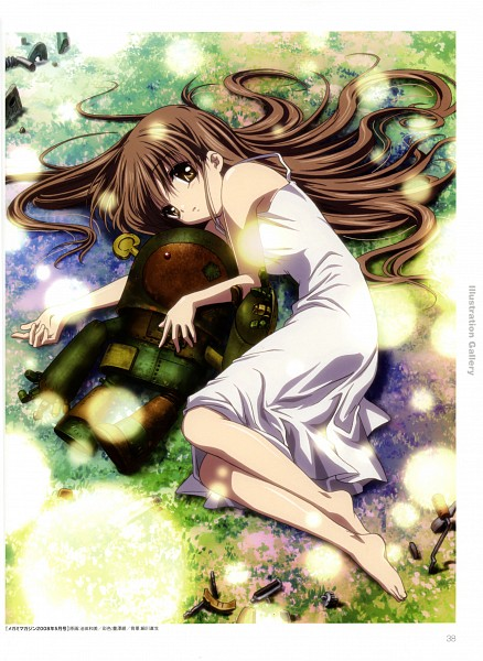 Tags: Anime, Kyoto Animation, Clannad TV Animation Visual Fan Book, CLANNAD, Girl from the Illusionary World, Garbage Doll, Robot Toy, Laying on Grass, Scan, Official Art