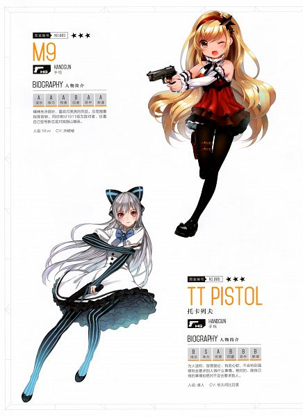 Tags: Anime, Pixiv Id 2668318, M.vv, The Art of Girls' Frontine, Girls Frontline, M9 (Girls Frontline), Tokarev (Girls Frontline), Official Art, Scan