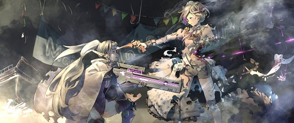 Tags: Anime, Pixiv Id 31430204, Girls Frontline, Contender (Girls Frontline), Jaeger (Girls Frontline), Banner, Prosthesis, Party, Streamers, Purple Neckwear, Sniper Rifle, No Glasses, Destruction