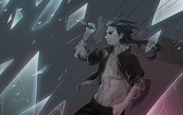Tags: Anime, Chrabi, Final Fantasy XV, Gladiolus Amicitia, Huge Weapon, Oversized Object, deviantART, Fanart