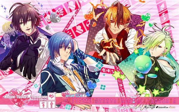 Tags: Anime, IDEA FACTORY, Glass Heart Princess, Hoshino Kanata, Asahina Tenma, Karasuma Yukito, Masaki Shinnosuke, 1440x900 Wallpaper, Alien, Wallpaper, Calendar 2012, Calendar (Source)