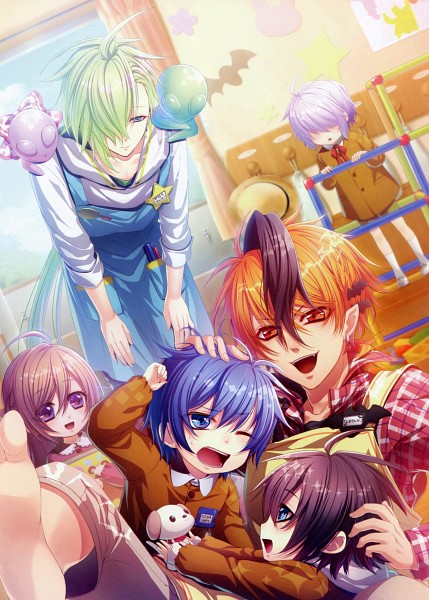 Tags: Anime, IDEA FACTORY, Glass Heart Princess, Asahina Tenma, Karasuma Yukito, Masaki Shinnosuke, Himeno Kyouko, Hoshino Kanata, Kindergarten, Kindergarten Uniform, Alien, Kindergarten Teacher, Mobile Wallpaper