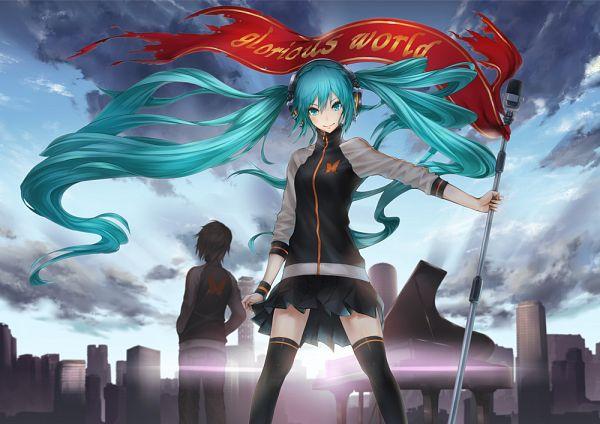 Tags: Anime, Nidy‐2D‐, VOCALOID, Fan Character, Hatsune Miku, Sunrise, Banner, Glorious World, Pixiv