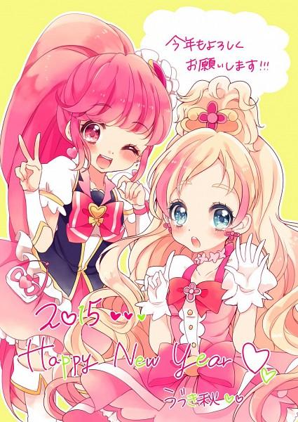 Tags: Anime, Uduki Shi, HappinessCharge Precure!, Go! Princess Precure, Precure All Stars, Aino Megumi, Cure Flora, Cure Lovely, Haruno Haruka, Mobile Wallpaper, Fanart, Twitter, Happy 2015