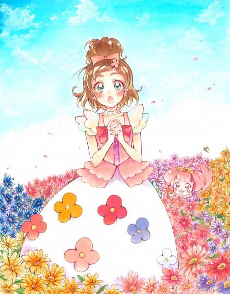 Tags: Anime, Pixiv Id 4996595, Go! Princess Precure, Puff (Go! Princess Precure), Haruno Haruka, Gown, Fanart From Pixiv, Pixiv, Fanart