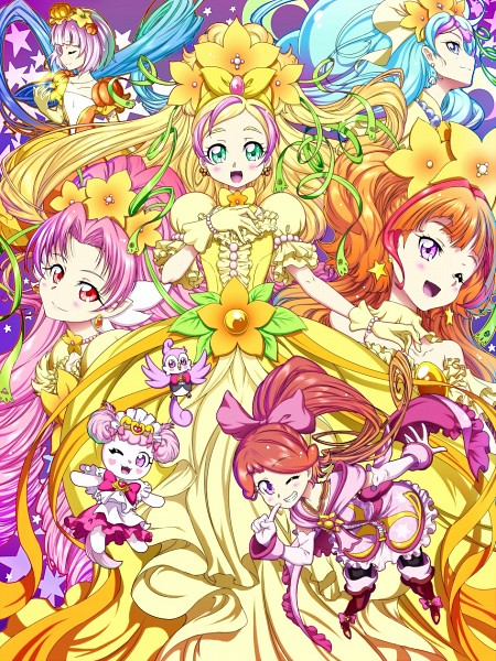 Tags: Anime, Pixiv Id 3411146, Go! Princess Precure, Puff (Go! Princess Precure), Haruno Haruka, Princess Pumplulu, Amanogawa Kirara, Cure Mermaid, Akagi Towa, Kaidou Minami, Cure Scarlet, Cure Twinkle, Aroma (Go! Princess Precure)