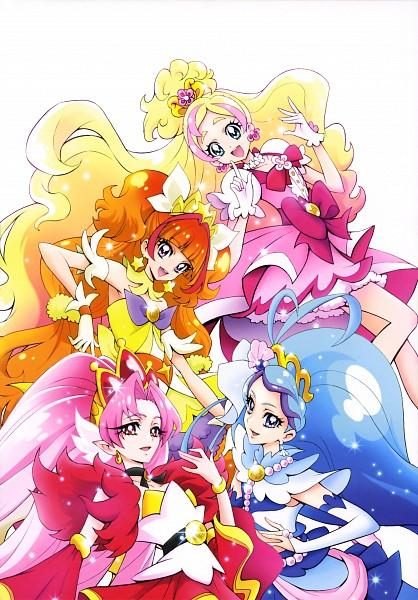 Tags: Anime, Kamikita Futago, Go! Princess Precure, Akagi Towa, Cure Flora, Cure Scarlet, Haruno Haruka, Amanogawa Kirara, Cure Mermaid, Kaidou Minami, Cure Twinkle, Official Art, Scan