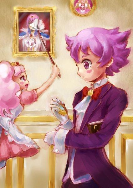 Tags: Anime, Pixiv Id 1706251, Go! Princess Precure, Cure Flora, Haruno Haruka, Prince Kanata, Aroma (Go! Princess Precure), Puff (Go! Princess Precure), Pocket Watch, Cleaning, Feather Duster, Fanart From Pixiv, Pixiv