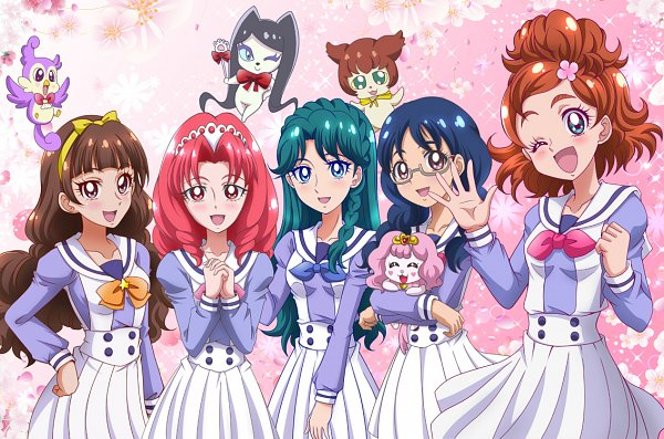 Tags: Anime, Pixiv Id 1059771, Go! Princess Precure, Puff (Go! Princess Precure), Lock (Pretty Cure), Amanogawa Kirara, Nanase Yui, Kaidou Minami, Miss Shamour, Haruno Haruka, Aroma (Go! Princess Precure), Akagi Towa, Fanart From Pixiv