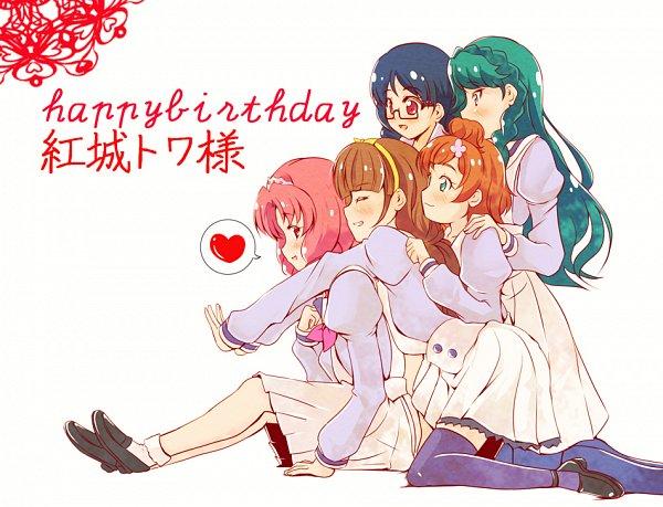 Tags: Anime, Pixiv Id 1046271, Go! Princess Precure, Haruno Haruka, Akagi Towa, Nanase Yui, Amanogawa Kirara, Kaidou Minami, Group Hug, Pixiv, Fanart, Fanart From Pixiv