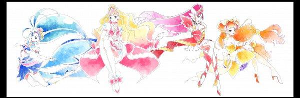 Tags: Anime, Pixiv Id 31449680, Go! Princess Precure, Amanogawa Kirara, Cure Mermaid, Kaidou Minami, Cure Twinkle, Akagi Towa, Cure Flora, Cure Scarlet, Haruno Haruka, Fanart, Fanart From Pixiv