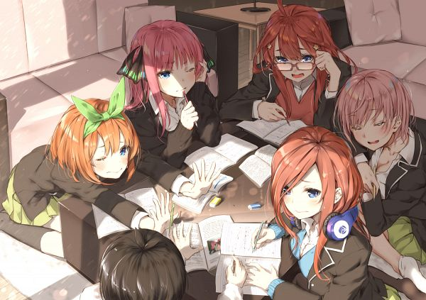 Tags: Anime, Sahara386, Go-Toubun no Hanayome, Nakano Ichika, Uesugi Fuutarou, Nakano Nino, Nakano Miku, Nakano Yotsuba, Nakano Itsuki, Thick Thighs, Study, Eraser, The Quintessential Quintuplets