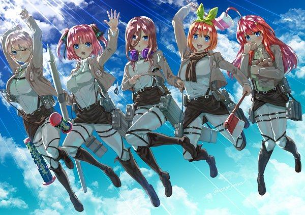Tags: Anime, Pixiv Id 32544133, Go-Toubun no Hanayome, Nakano Ichika, Nakano Miku, Nakano Nino, Nakano Yotsuba, Nakano Itsuki, Quintuplets, Shingeki no Kyojin (Cosplay), Pixiv, Fanart, Fanart From Pixiv, The Quintessential Quintuplets
