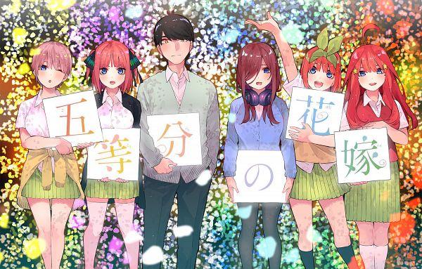 Tags: Anime, Haruba Negi, Go-Toubun no Hanayome, Nakano Yotsuba, Nakano Itsuki, Nakano Ichika, Uesugi Fuutarou, Nakano Nino, Nakano Miku, Sign Board, Jacket Around Waist, Quintuplets, Official Art, The Quintessential Quintuplets