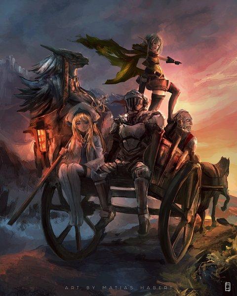 Tags: Anime, Goblin Slayer, Priestess (Goblin Slayer), Lizard Priest, Dwarf Shaman, High Elf Archer, Goblin Slayer (Character), Carriage, deviantART, Fanart, Fanart From DeviantART, Artist Request