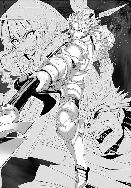 Tags: Anime, Kannatsuki Noboru, Goblin Slayer, Heavy Warrior, Spearman, High Elf Archer, Official Art, Novel Illustration