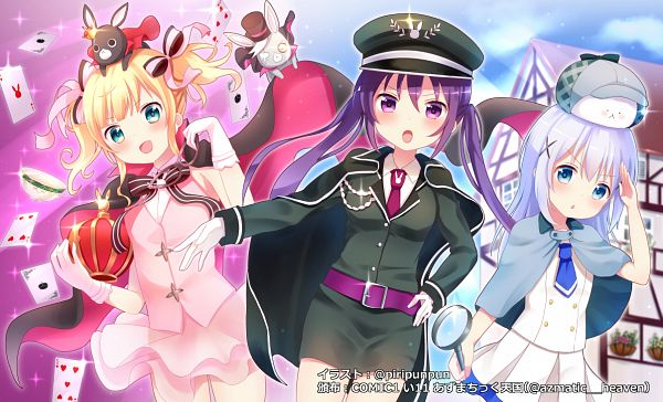 Tags: Anime, Piripun, Gochuumon wa Usagi Desu ka, Kirima Sharo, Wild Geese (Gochuumon wa Usagi Desu ka?), Tedeza Rise, Anko (Gochuumon wa Usagi Desu ka?), Kafuu Chino, Tippy (Gochuumon wa Usagi Desu ka?), Phantom Thief Lapin, Detective, Detective Clothes, Magic User Outfit, Is The Order A Rabbit?