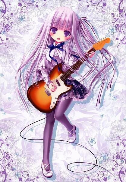 Tags: Anime, Tinkerbell, Tenshi no 3P!, Ro-kyu-bu!, Vernal Flowers 2, Gotou Jun, Electric Guitar, Scan, Mobile Wallpaper, Official Art