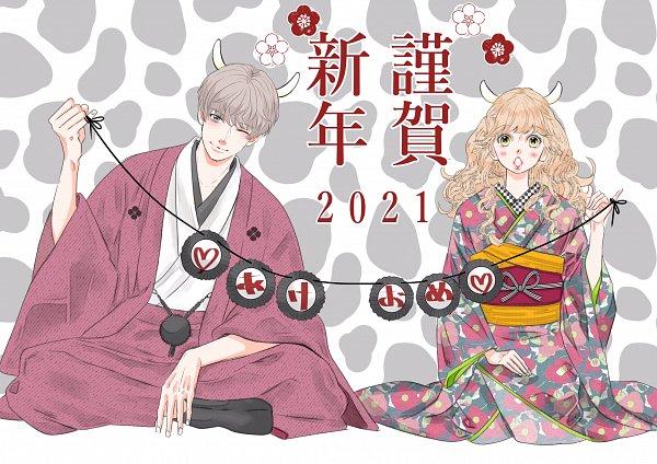 Tags: Anime, Mikimoto Rin, Gozen 0-ji Kiss Shi Ni Kite Yo, Ayase Kaede (Gozen 0-ji), Hanazawa Hinana, Official Art, Happy 2021