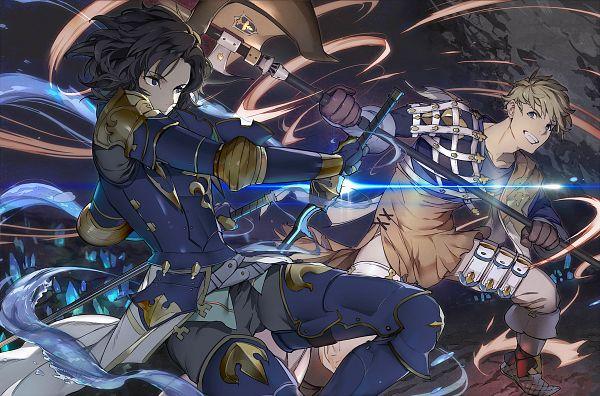 Tags: Anime, Mikurou, Granblue Fantasy, Vane (Granblue Fantasy), Lancelot (Granblue Fantasy), PNG Conversion, Pixiv
