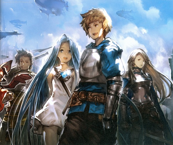 Tags: Anime, Minaba Hideo, Cygames, Granblue Fantasy, Lyria (Granblue Fantasy), Rackam (Granblue Fantasy), Catalina (Granblue Fantasy), Gran (Granblue Fantasy), Flying Ship, Cigar, Self Scanned, Scan, Official Art