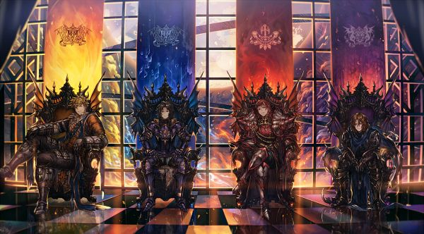 Tags: Anime, Salay, Granblue Fantasy, Lancelot (Granblue Fantasy), Siegfried (Granblue Fantasy), Vane (Granblue Fantasy), Percival (Granblue Fantasy), Knight, Facebook Cover, Pixiv, Fanart From Pixiv, Wallpaper, PNG Conversion