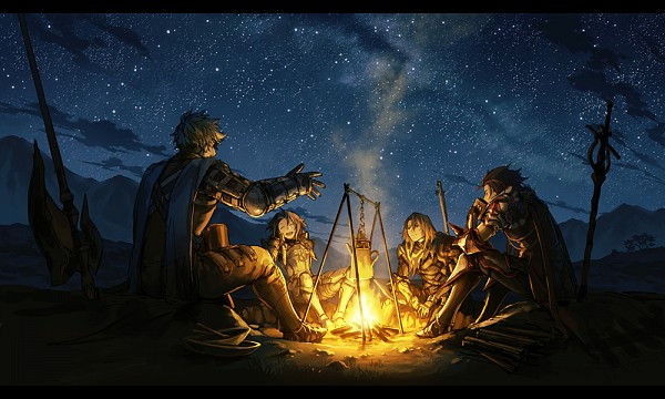 Tags: Anime, Pixiv Id 301644, Granblue Fantasy, Siegfried (Granblue Fantasy), Vane (Granblue Fantasy), Percival (Granblue Fantasy), Lancelot (Granblue Fantasy), Camping, Campfire, Fanart, Fanart From Pixiv, Pixiv