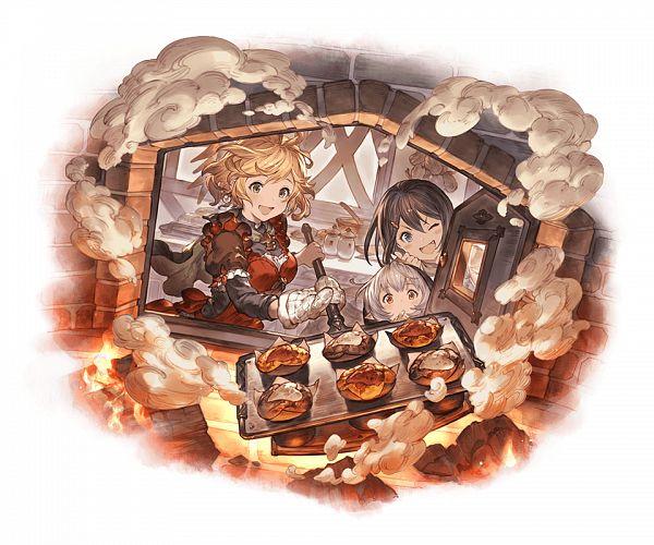 Tags: Anime, Minaba Hideo, Cygames, Granblue Fantasy, Feena (Shingeki no Bahamut), Teena (Shingeki no Bahamut), Minigob (Granblue Fantasy), Oven Mitts, Muffin, Official Art