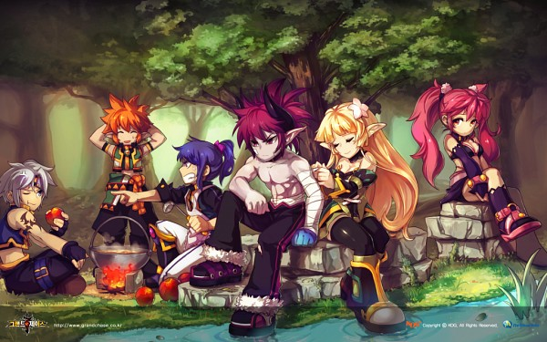 Tags: Anime, K.O.G, Grand Chase, Lire Eryuell, Amy Aruha, Dio von Burning Canyon, Ryan Woodguard, Ronan Erudon, Lass Isolet, Official Art, Wallpaper