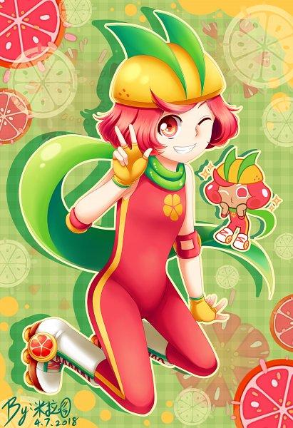 Tags: Anime, Pixiv Id 10388540, Cookie Run: OvenBreak, Cookie Run, Grapefruit Cookie, Yellow Handwear, Yellow Gloves, Roller Skates, Fanart