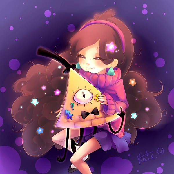 Tags: Anime, Pixiv Id 3614356, Gravity Falls, Mabel Pines, Bill Cipher, Sticker (Object), Confused, Pixiv