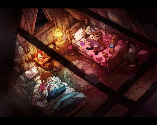 Tags: Anime, Pixiv Id 493945, Gravity Falls, Dipper Pines, Mabel Pines, Hand Puppet, Bedroom