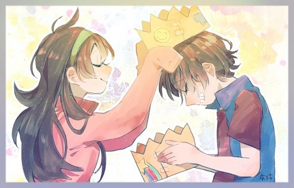 Tags: Anime, Pixiv Id 20215997, Gravity Falls, Mabel Pines, Dipper Pines, Bowing, Twitter, Fanart