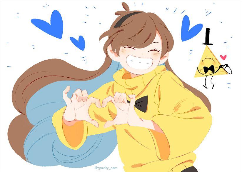 Tags: Anime, Diriroro, Gravity Falls, Bill Cipher, Mabel Pines, Fanart