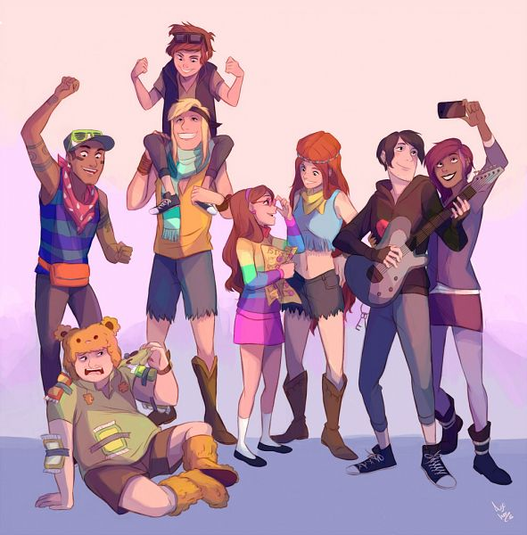 Tags: Anime, Azeher, Gravity Falls, Thompson (Gravity Falls), Mabel Pines, Nate (Gravity Falls), Tambry (Gravity Falls), Lee (Gravity Falls), Wendy Corduroy, Robert Valentino, Dipper Pines, Brown Shorts, Taking A Photo