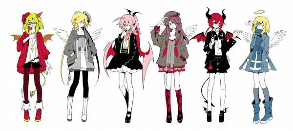 Tags: Anime, Nuuunuuu, Gray Garden, Yosafire, Macarona, Dialo, Chelan, Rawberry (Gray Garden), Froze (Gray Garden), Gray Outfit, Hair Wings, Fanart, Facebook Cover, The Gray Garden