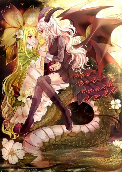 Tags: Anime, Pixiv Id 4588584, Gray Garden, Sin (Mogeko), Reficul, Lamia, Mobile Wallpaper, Pixiv, The Gray Garden