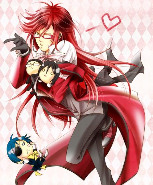 Tags: Anime, Peco★, Kuroshitsuji, Sebastian Michaelis, William T. Spears, Grell Sutcliff, Ciel Phantomhive, Pixiv, Fanart