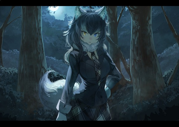 Tags: Anime, Koruse, Kemono Friends, Grey Wolf (Kemono Friends), PNG Conversion, Fanart, Twitter