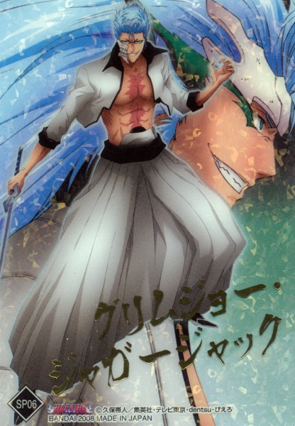 Tags: Anime, Kubo Tite, Bandai Visual, BLEACH, Grimmjow Jeagerjaques, Resurrección, Arrancar Clothes, Official Art, Mobile Wallpaper, Espada